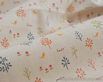 SALE Clearance 1/2 Yard Natural Little Orange Dark Pink Bird Floral Tree Woods Forest (Colorful Version)- Linen Cotton Blended Fabric