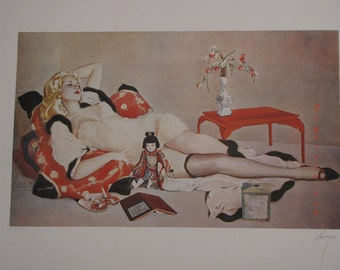 """Vintage Alberto Vargas Fine Art Lithograph Print """"Fleurs Du Mal""""  """"China Doll"""" Limited Edition Signed / Numbered Print"""