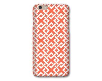 Lattice iPhone 6S Case, Coral iPhone SE Case Spring Collection iPhone X Case Preppy iPhone 7 Plus Case, Samsung Galaxy