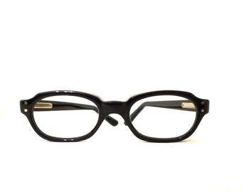 Vintage 60s Eyewear / NOS Smaller Black Horn Rimmed Eyeglasses Frames, Mad Men/ on sale