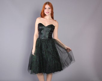 80s PARTY DRESS / 1980s Strapless Poufy Tulle Green Glitter & Black, xs