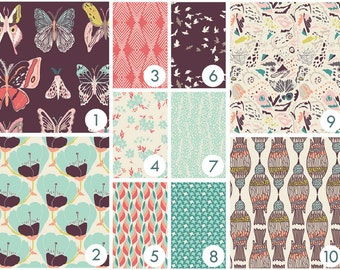 Baby Bedding - Butterflies, Birds and Flowers Custom Crib Bedding - Peach, Coral, Aqua, Purple, Plum