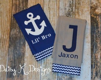 Personalized Boys Nautical Burp Cloth Set  - Anchors and Chevron in Navy, White and Grey