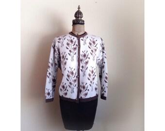 Vintage Kerrybrooke Virgin Orlon Cardigan Sweater  Brown Flowers