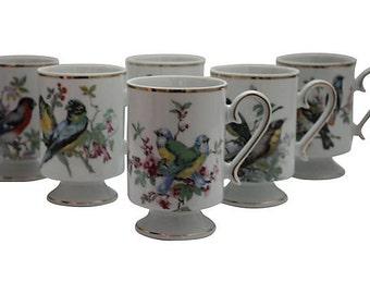 Vintage Set of Six Royal Crown Bird Mugs