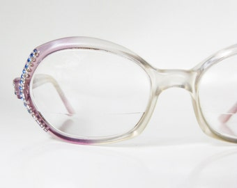SALE Vintage Rhinestone Eyeglasses 1960s Round Glasses Sunglasses Light Purple Lilac Pastel Clear Sparkle Sparkling 60s Sixties Hipster