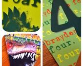 Dinosaur Assembled Raffia Personalized Boy Girl Double Pendant Banner Birthday Age, Birthday Photo of Child, Dinosaur Comics Dinosaurs
