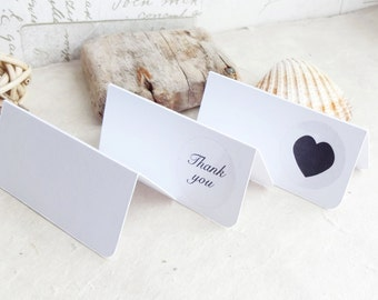 White Place Cards - Blank Tent Cards or Folded Table Cards - wedding place cards - square or rounded corners