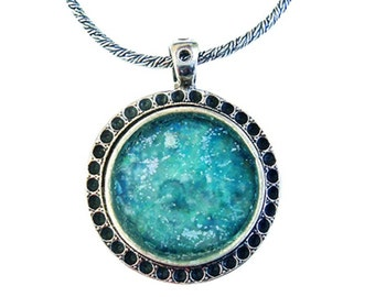 Roman glass Round necklace. Designer Israeli Sterling silver necklace set with roman glass
