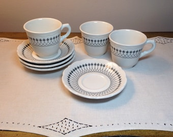 Vintage Cup & Saucer Set Syracuse China BLACK LACE Restaurant ware Teacup Diner Essex