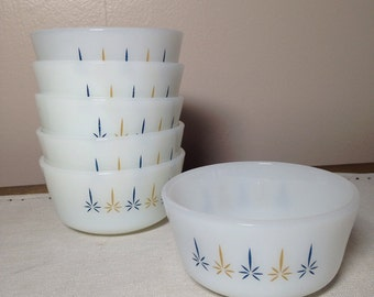Milk Glass Custard Bowl Cup Set of 6 Anchor Hocking Fire King Candle Light Atomic Mid Century