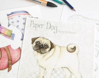 Pug dog paper doll with clothes - Instant download PDF - pug art