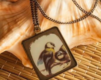 Simple Bird Tile Pendant Necklace