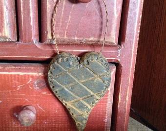 Blackened Beeswax Primitive Quilted Heart Ornie #108