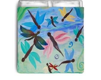 Spring Dragonflies garden comforter from my art