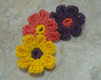 Crocheted Flower Face Scrubbies One of Each Color Yellow Purple and Melon