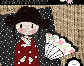 Cute Geisha stamp clipart - COMMERCIAL USE OK