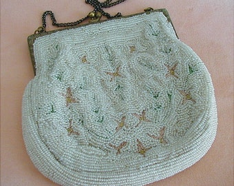 Vintage French Beaded White Petit Point Purse