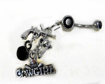 Cowgirl Belly Button Ring, Country Girl, Country Western,Trendy Belly, Beach Belly, Pistol,Gun,Rodeo Jewelry, Ready to Ship, Direct Checkout