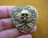 Skull crossbones pirate lover Salty Sea Dog Jolly Roger heart love Victorian repro brass pin pendant B-Skull-1