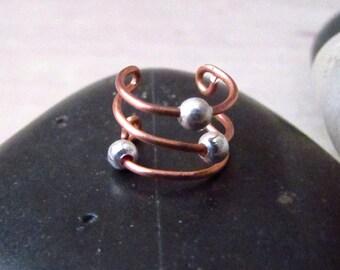 Minimalist Ear Cuff - Simple Ear Cuff - Cartilage Ear Cuff - Copper Wire Ear Cuff - Nonpierced Ear Cuff - Beaded Ear Cuff - Unisex Ear Cuff