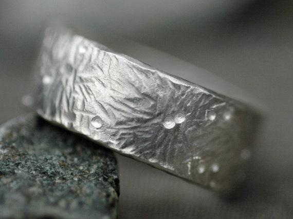 Fireworks Hammered Sterling Silver Band- Custom Made Wedding Ring
