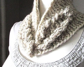 TWO IN ONE, Cable knit scarf, Hand Knit Headband, Winter Headband, Ear Warmer,  Cable Knit Headband for Women, Oatmeal