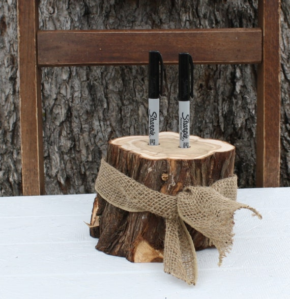 Outdoor Rustic Wedding Ideas: Rustic Wedding Decor Pen Or Marker Holder Tree By