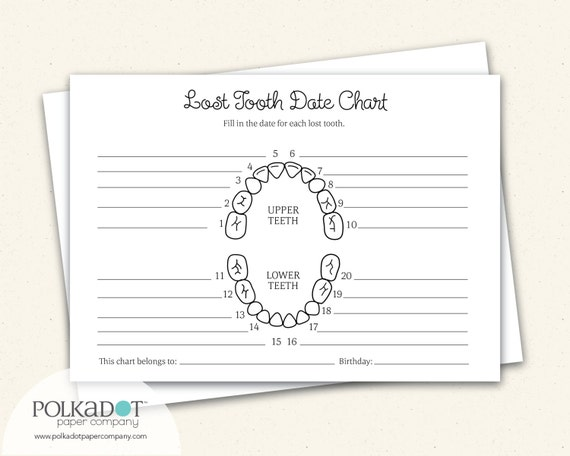 blank teeth diagram: lost tooth record keepsake chart by the speckled  duck