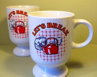 Vintage Mugs - Let's Break - Vintage Pedestal Mugs - 1980s - Vintage Homeware - Mugs - Cups