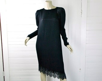 Asymmetric Cocktail Dress in Black Silk w/ Beaded Fringe- 1980s- 80s does 20s Dynasty Glamor- Small- Shoulder Pads