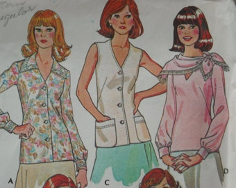 """1976 McCall's """"Carefree Patterns"""" for Misses blouses"""