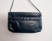 80s Vintage Navy Blue Leather Cross Body Purse, Roomy Clutch SABRINA