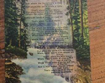 Vintage Linen Postcard, Out Where the West Begins, Arthur Chapman, 1930s, Colorado