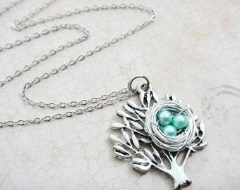 Antique Silver Tree and Teal Pearl Nest Necklace