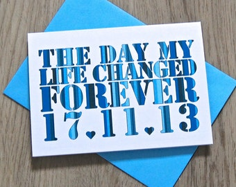 Date My Life Changed Card – Personalised Anniversary Card – Card for Husband/Wife – birthday card for husband/wife –Wedding card for husband