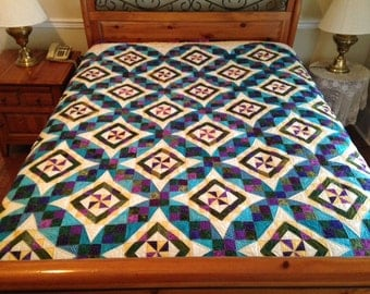 Stunning  Tennessee Waltz Variation  Bed Size Quilt in Beautiful Jewel Tones