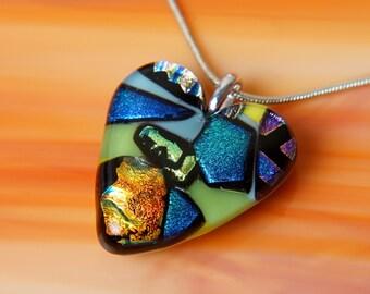 Handmade Dichroic Fused Glass Necklace ...JuMbO HEART...