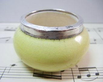 Porcelain open salt with Sterling Silver rim / Yellow serving / salt cellar / salt dip / Easter table / Victorian / gift