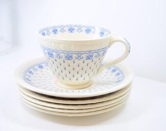 SPODE Ermine / blue Centurion tea cup / saucer / serving plates / blue fleur de lis / cross / England / elegant holiday table / embossed