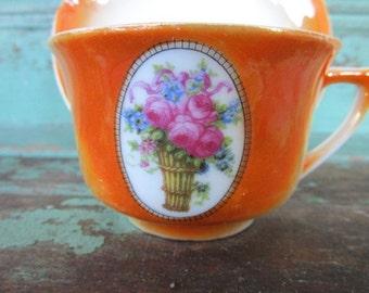 Vintage Teacup Tea Cup and Saucer Germany Eleanor Lusterware Cameo Flower