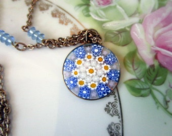 Vintage Murano glass Pendant necklace Blue and yellow flowers