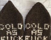 Mature Mittens Cold as F**k  Mens Size Med Large Hand Knit Fishermans Wool Brown Natural Free US Shipping