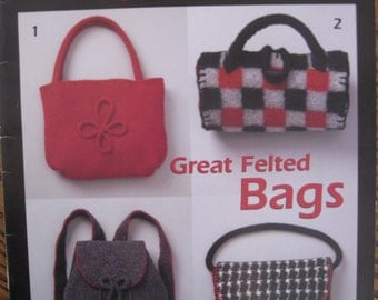 Patons Designer Series Great Felted Bags Instructions to make 12 Bags  Free US Shipping