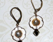 Brown and Clear Glass Flower Earrings - E1698