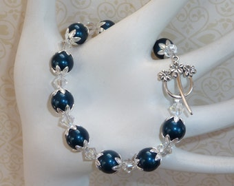 Teal Blue and Clear Swarovski Crystals and Pearls - B1708
