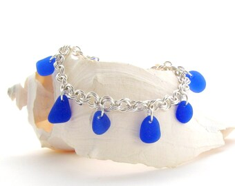 Argentium Silver Chain Bracelet with Cobalt Seaglass/Beachglass