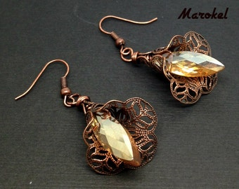 Amber Crystal Filigree Floral Earrings Brass Yellow Topaz Dangle