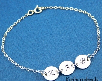 Hand Stamped Disc Bracelet, Initial Disc Bracelet, Mothers Jewelry, Personalized Jewelry, Family Bracelet