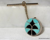 Zuni Blue Turquoise Onyx Native American Tie Tack Clip Sterling Silver